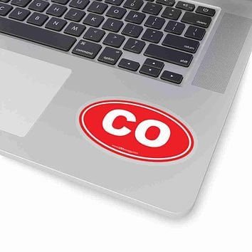Colorado CO Euro Oval Sticker RED SOLID