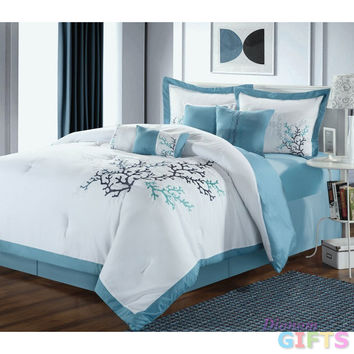 12pc Coral Leaf White/Blue Luxury Bedding Set