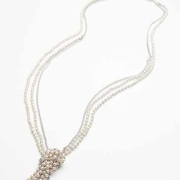 Free People Knotted Pearl & Chain Pendant