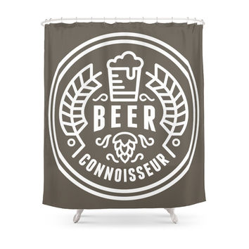 Society6 Beer Badge One Color Shower Curtains