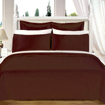 "Chocolate 550TC Olympic Queen Solid Bed in A Bag 90x92"" Egyptian cotton With Down Alternative Comforter"