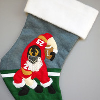 Football Santa Christmas Stocking