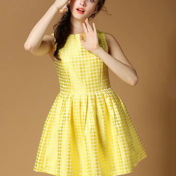 Yellow Polka Dot Sleeveless High-Waisted Skater Dress