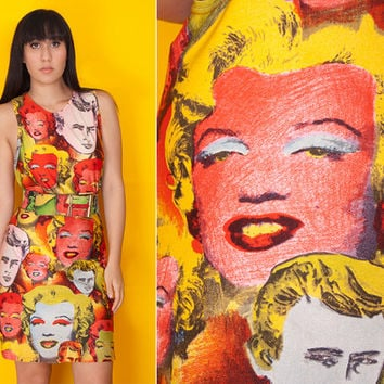 Rarest Ever s/s 1991 GIANNI VERSACE Marilyn MONROE James Dean Pop Art Dress