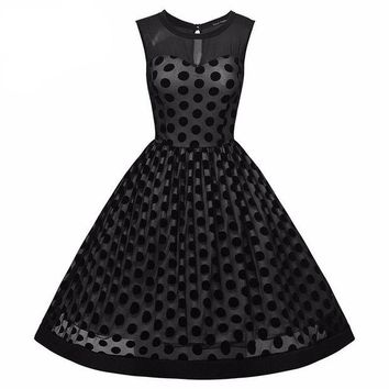 DCCKLG2 Vintage Polka Dot 1950s Mesh  Dress