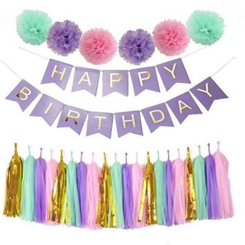 8PCS Pink Purple Happy Birthday Theme Decoration Set-DIY Kids Party Favor Princess, Tissue Ball, Pink Tassels, & Happy Birhday Banner Set