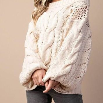 Carolina Off the Shoulder Cable Knit Sweater