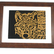 """Wolf Framed Wood Wall Hanging Art Decor Handmade From 8.5"""" x 11"""" Oak Wood Wolf Looking Close Up"""