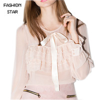 Sale Women's Sale Autumn Cute Blouse Long Butterfly Sleeve Round Neck With Bow Ladies Chiffon Pink Shirt Slim For Womens