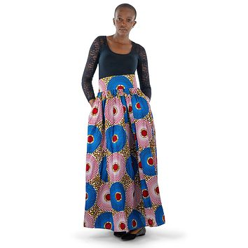 African Print Maxi Skirt-Blue/Red Concentric Print