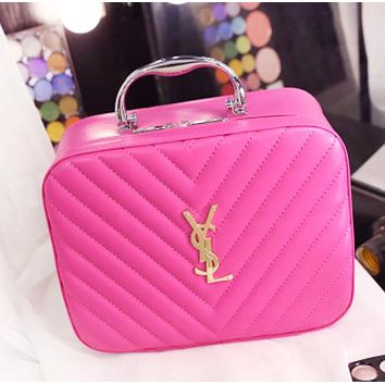 YSL Fashion New Leather Women Leisure Storage Bag Cosmetic Bag Rose Red
