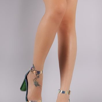 Liliana Holographic Snake Clear Ankle Strap Chunky Heel