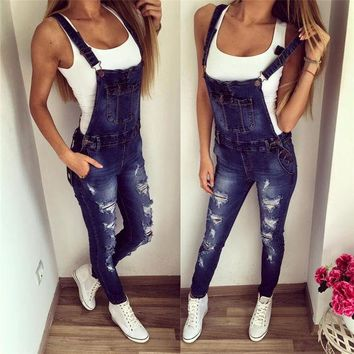 DCCKGSQ fashion denim overalls jumpsuit