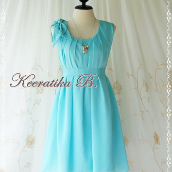 A Party Dress One Shoulder Layered Bow Dress Bright Tiffany Blue Dress Prom Dress Party Bridesmaid Dress Wedding Dress Anniversary Dress