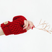 Crochet Convertible Mittens In Red, Women Winter Gloves With Flip Top, Wool Hand Warmers