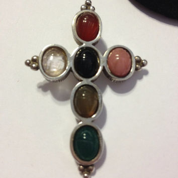 Scarab Stone Cross Pendant Sterling Silver Garnet Citrine Onyx Coral Adventurine 925 Enhancer Slide Charm Necklace Crucifix Gift Spiritual