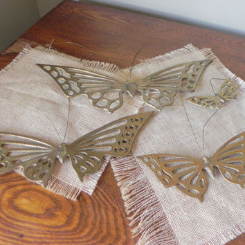 Vintage brass butterflies butterfly to hang on your wall four of them by Unesco