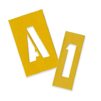 """chartpak painting stencil numbers/letters, 2"""", yellow Case of 4"""
