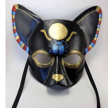 Egyptian Inspired Leather Cat Mask Black, Gold, Red, and Blue with Scarab and Sun Disc
