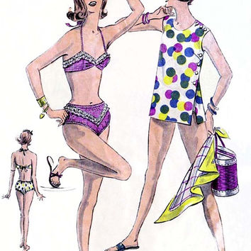 60s Bikini Swimsuit & Cover Up Vintage Sewing Pattern Weigels 2187 Size 16 Bust 36 Inches
