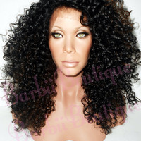 Celebrity Inspired Beyonce Kinky Big N'Curly Natural Black w/ Honey Blonde Highlights Wig ** Lace Edge Wig ** Heat Safe ** Natural Hairline