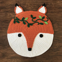 Crochet Rug Pattern - Crochet Fox - Woodland Fox Rug Pattern - Crochet Nursery Rug - Nursery Mat - Crochet Patterns by Deborah O'Leary