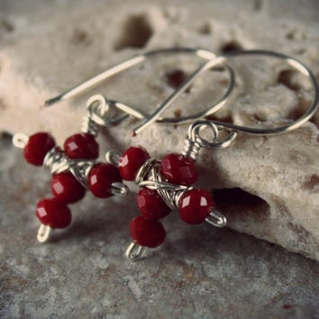 Cross Earrings - Czech Crystal - Red Crystals Cross Earrings