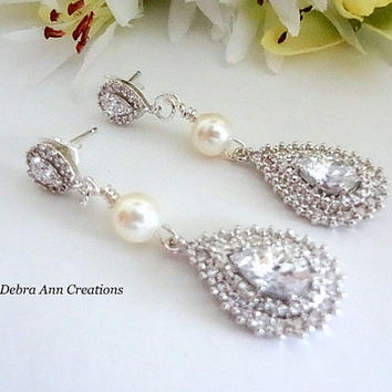 Swarovski Pearl Crystal Teardrop Earrings Pearl Bridal Earrings Crystal Wedding Earrings Vintage Style Bride Jewelry Long Bride Earrings