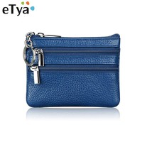 eTya Brand Hot Fashion Genuine Leather Women Lady Wallet Clutch Short Small Coin Purse New Soft Solid 3 zipper Bag