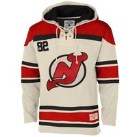 Ole Time Hockey New Jersey Devils Lace Jersey Team Hoodie - White