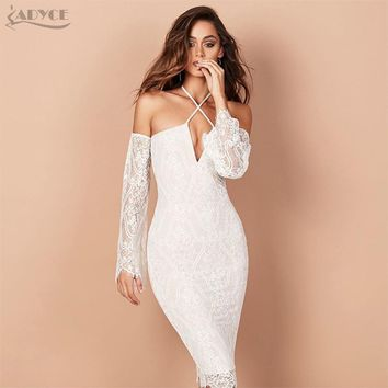 Adyce 2017 Fashion Summer Dress Chic Women Runway Dress White Halter Long Sleeve Lace Bodycon Dress Evening Party Dresses