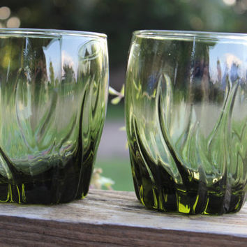 Vintage Whiskey Glasses, Central Park Rocks Ivy Green old fashioned glasses, green Hocking wave tumblers, scotch glasses, MCM bar cart glass