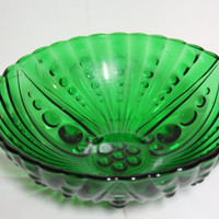 Large Green Glass Bowl, Fruit Bowl, Serving Centerpiece, Candy Dish, Dark Green Depression Glass, FREE US Shipping