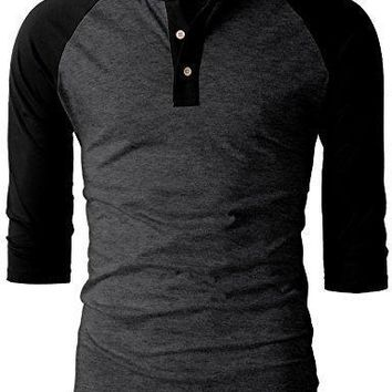 H2H Mens Casual Slim Fit Raglan Baseball 3/4 Sleeve Henley Premium T-Shirts CHARCOALBLACK US M/Asia L (CMTTS0174)
