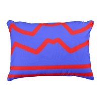 Blue and Red Striped Pattern Outdoor Pillow