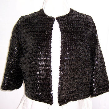 Black Bolero Jacket with Sequins, Party Cape, Black Jacket, Dress Jacket, Cocktail Jacket, Jacket with Sleeves