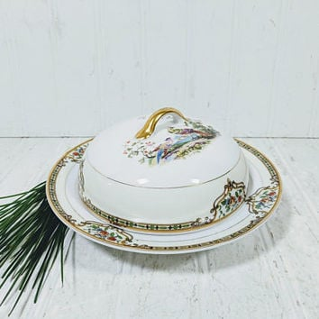Noritake Morimura Chelsea Pattern Butter Dish 3 Piece Set Hand Painted Art Deco Fine China Serving Dish with Colorful Peacock Pair Gold Trim
