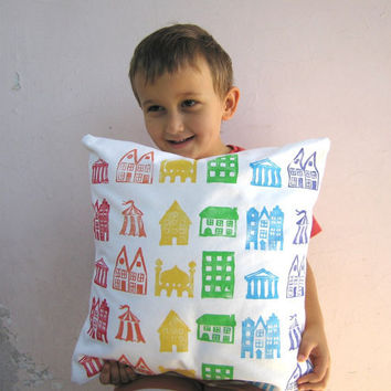 Childrens decor throw pillow, rainbow houses print on eco friendly organic cotton - colorful nursery decor