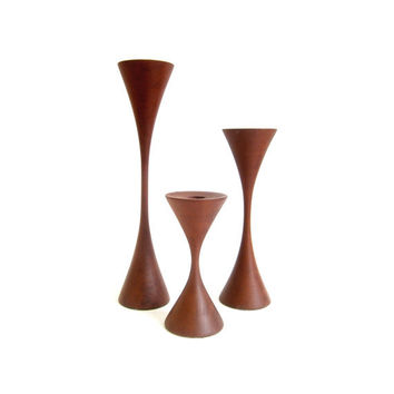 Danish Modern Turned Wood Candle Sticks Holders Rude Osolnik Style Walnut Teak Set of 3