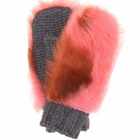 Fur-trimmed wool mittens