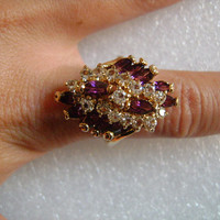 Lovely 14K Yellow Gold Filled With Sparkling Round CZ Cubic Zirconia & Marquise or Navette Cut Purple Amethyst Ladies Cocktail Ring Size 8.5