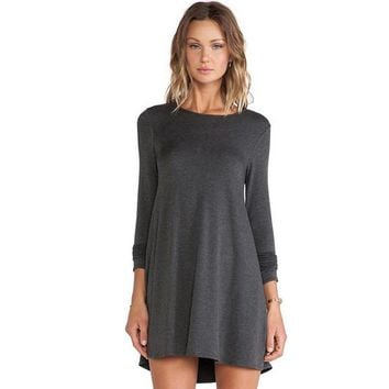 Women Gothic  Solid grey dress Long sleeves Round