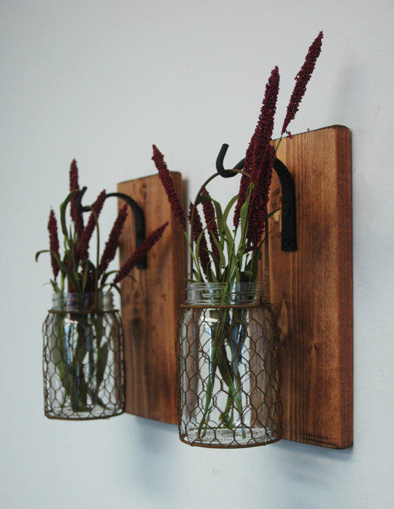 Wire Kitchen Wall Decor : Chicken wire mason jar wall decor rustic from