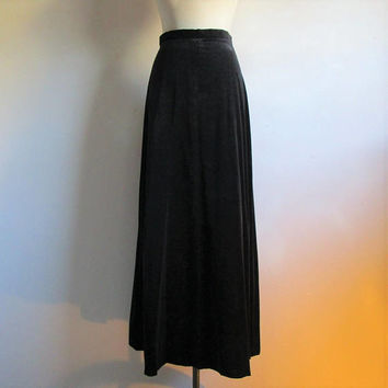 Vintage 70s Long Velvet Skirt Black Cotton Maxi 1970s Gothic A-Line Skirt Medium