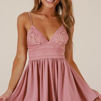 Sitting Waiting Wishing playsuit in dusty rose Produced By SHOWPO
