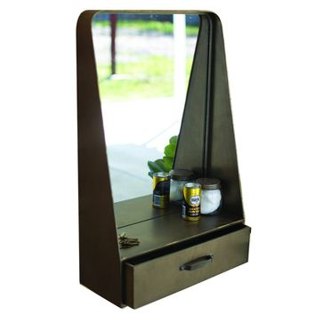Metal Wall Mirror With Drawer And Shelf