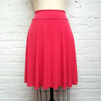 bright coral red knee length skirt - solid ITY poly jersey