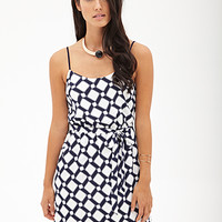 LOVE 21 Diamond Print Cami Dress Ivory/Navy