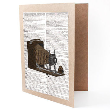 Camera Blank Greeting Card - Set of 4 - Note Cards With Envelopes - Upcycled Dictionary Page Book Art Print