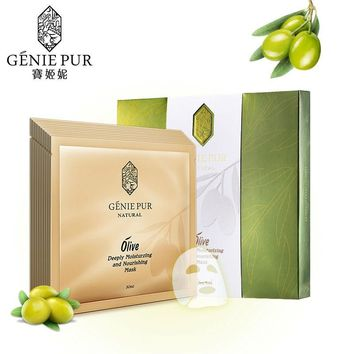 Olive Facial Mask GENIE PUR Silky Mask Sheet Hydrating Nourishing 30ml*5pcs/10pcs Blackhead Acne Scar Removing 100%  face care